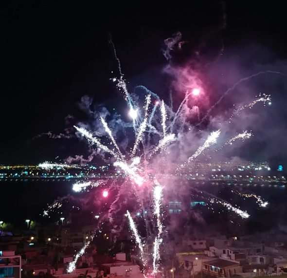 Fireworks following King Coronation at Parque Ciudades Hermanas