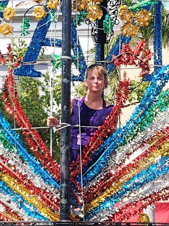 Denise is getting ready for the second day of Carnaval at Plazuela Machado